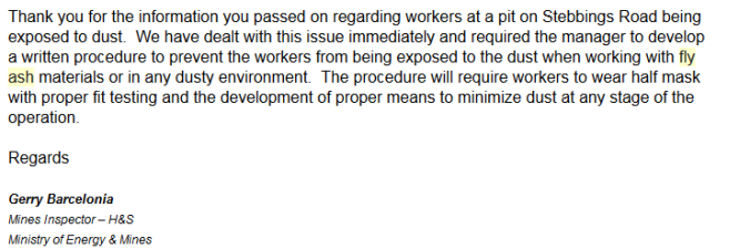 fly ash response from MEM