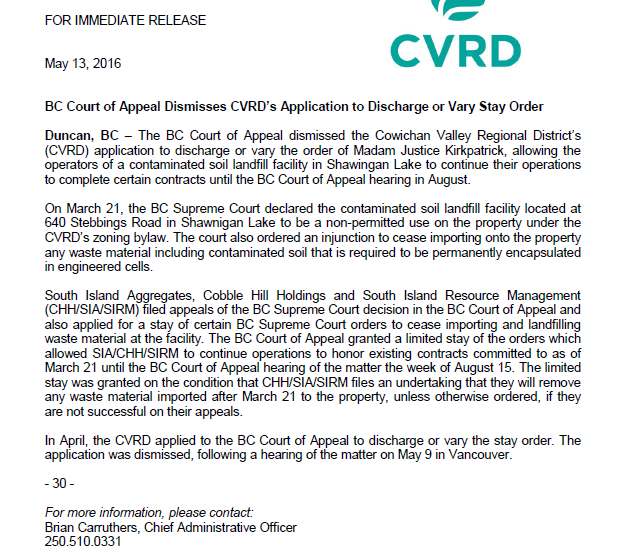 cvrd press release may 13th